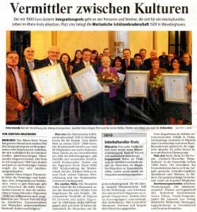 AnerkennungsurkundeRKN für die Puzzle-Fraueninitiative - NGZ 01.12.2011