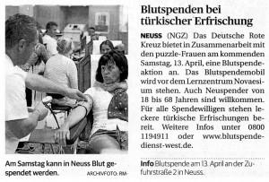 Blutspende-Aktion 13.04.2013 - NGZ 09.04.2013