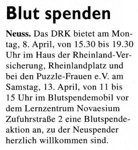 Blutspende-Aktion 2013 - Stadt-Kurier 27.03.2013