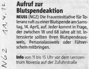 Blutspende-Aktion 2014 - NGZ 11.04.2014