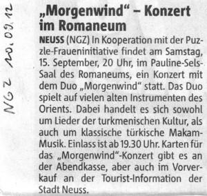 Konzert Duo Morgenwind - NGZ 10.09.2012