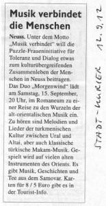 Morgenwind-Duo Konzert - Stadt-Kurier 12.09.2012