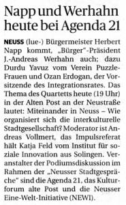 NGZ-Artikel über die Neusser Stadtgespräche vom 05.05.2015