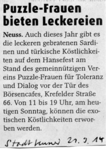 Puzzle-Frauen auf dem Hansefest 2014 - NGZ 21.09.2014