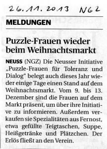 Puzzle-Frauen auf dem Neusser Weihnachtsmarkt 2013 - NGZ 26.11.2013