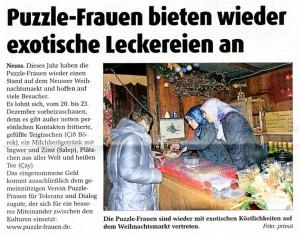 Puzzle-Frauen auf dem Weihnachtsmarkt 2014 - Stadt-Kurier 21.12.2014