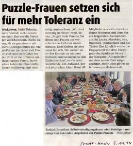 Puzzle-Frauen setzen sich für mehr Toleranz ein - Stadt-Kurier 05.11.2014