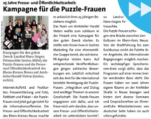 Stadtblatt Artikel Kampagne für die Puzzle-Frauen - Der Neusser Juli-August 2012