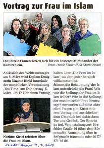 Vortrag die Frau im Islam zum Internationalen Frauentag - Stadt-Kurier 04.03.2015