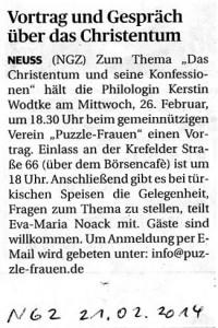 Vortrag und Gespräch über das Christentum und seine Konfessionen - NGZ 21.02.2014