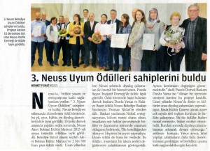 ZAMAN-Artikel Anerkennungspreis des Integrationsrates für die Puzzle-Frauen 10.03.2013
