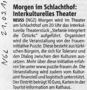 Interkulturelles Theater Stephanie integriert die Ötztürks - NGZ 21.09.2011